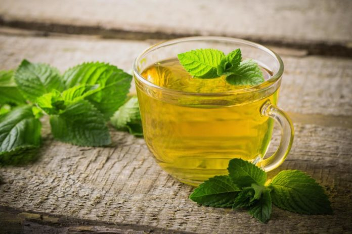 ceai de menta in ceasca cu fruze de menta